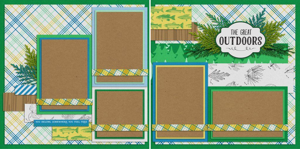 Premade Scrapbook Pages EZ Layout 2083 The Great Outdoors