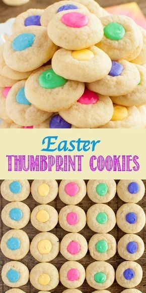 These Easter Thumbprint Cookies are pillowy soft, perfect sugar cookies, with pretty pastel white chocolate filling. An easy dessert for Easter or parties! #easter #party #birthday #thumbprintcookies #bestsugarcookies #softsugarcookie #nochillcookies