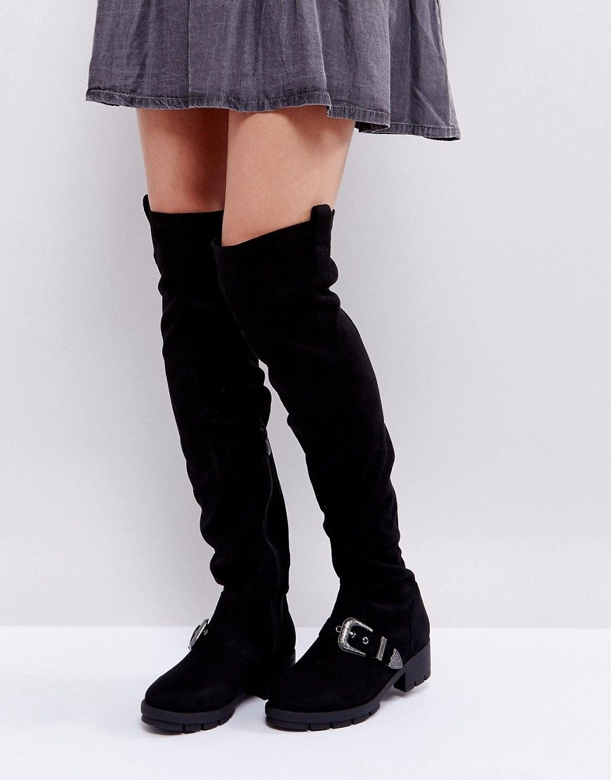 8295ddb36c32 Truffle Collection Flat Chunky Over The Knee Boots – Black