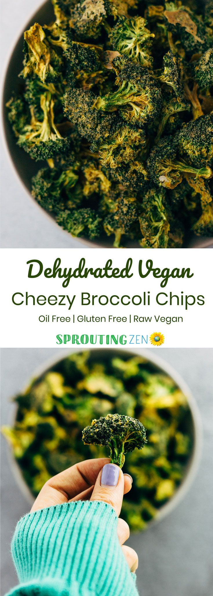 Dehydrated Raw Vegan Cheezy Broccoli Chips