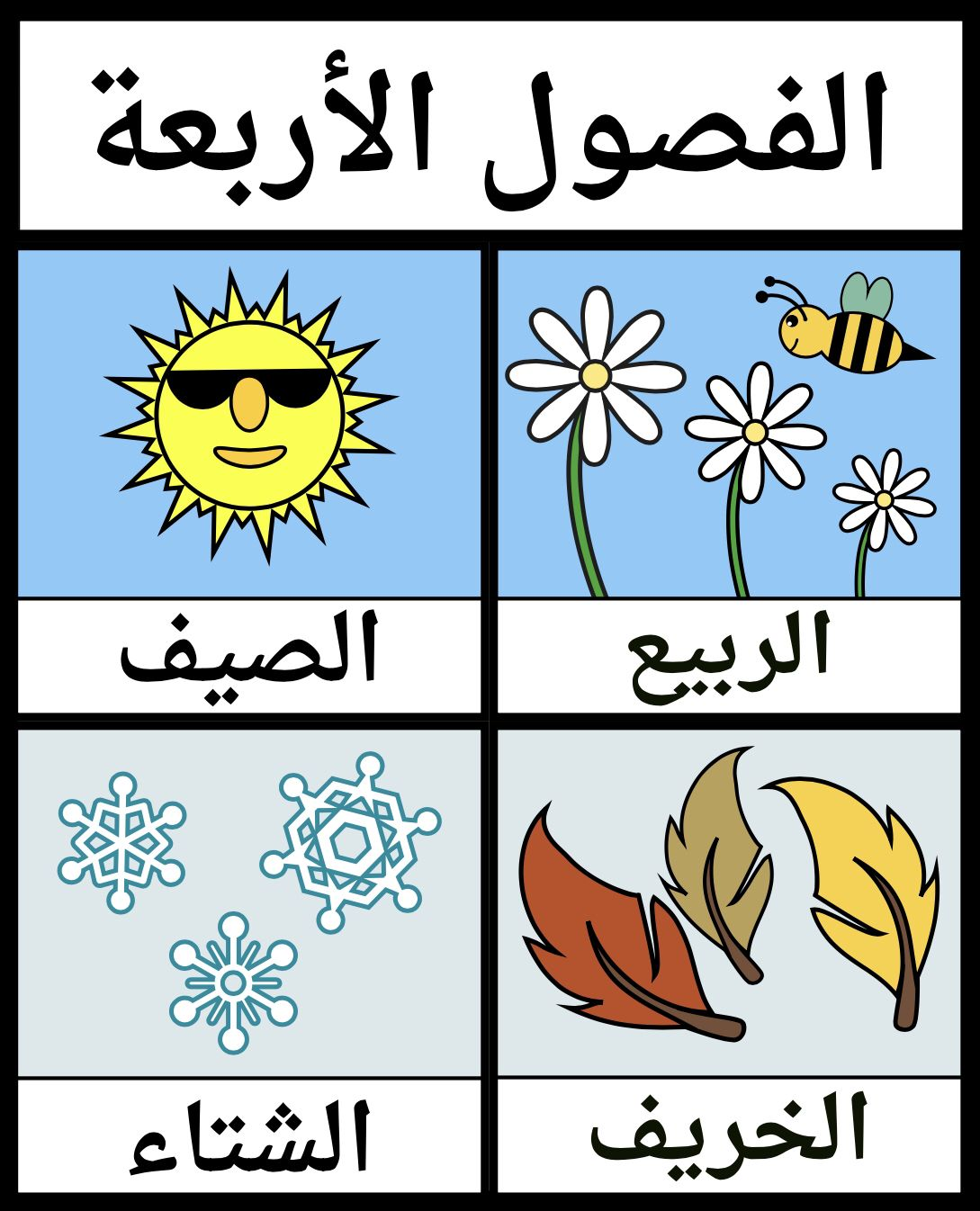 The Four Seasons In Arabic Arabic Alphabet For Kids Learn Arabic Alphabet Arabic Alphabet