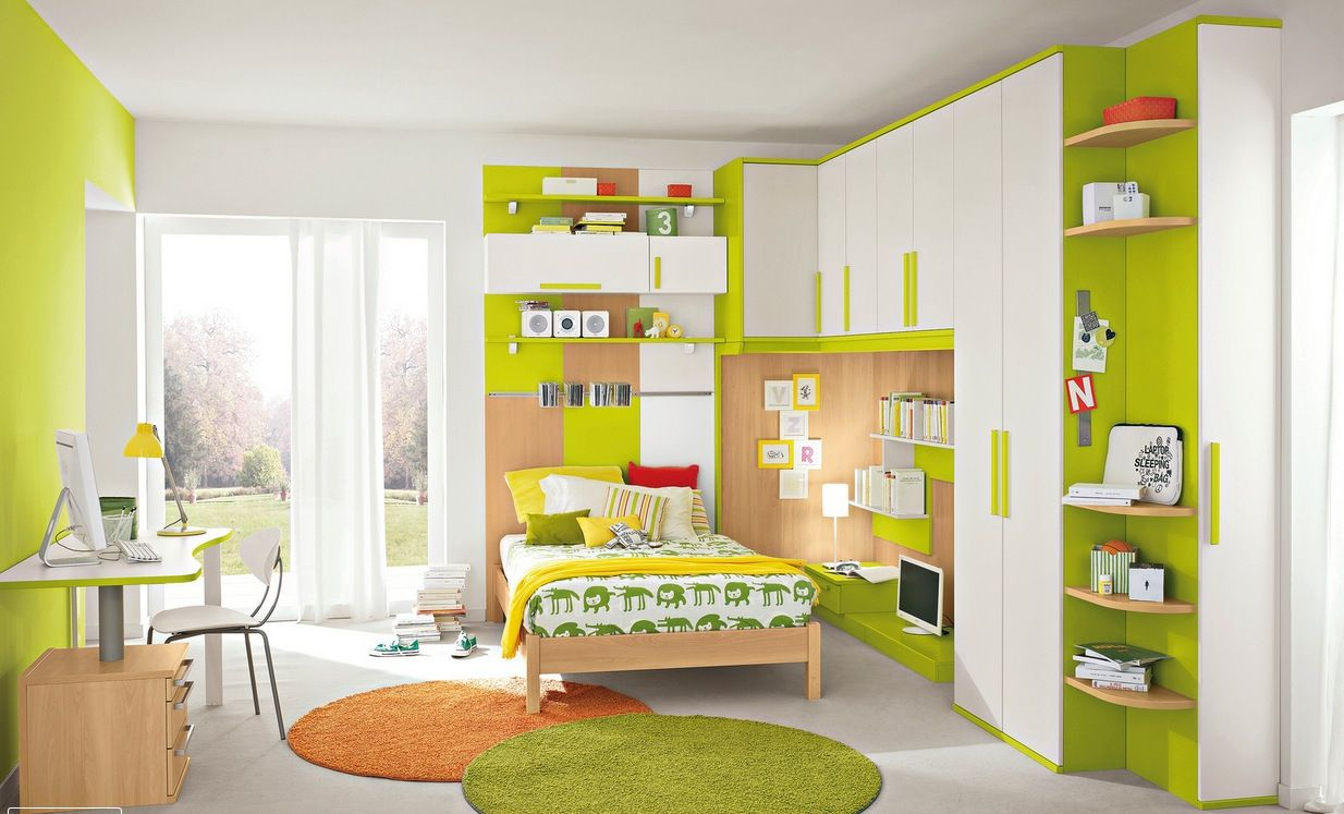 modern bedroom designs%0A Wonderful Lime Green and White Themed Kid u    s Bedroom Design with Large  Storage Style and Some Wall Shelf Design also Round Orange anf Green Rug  for The Best
