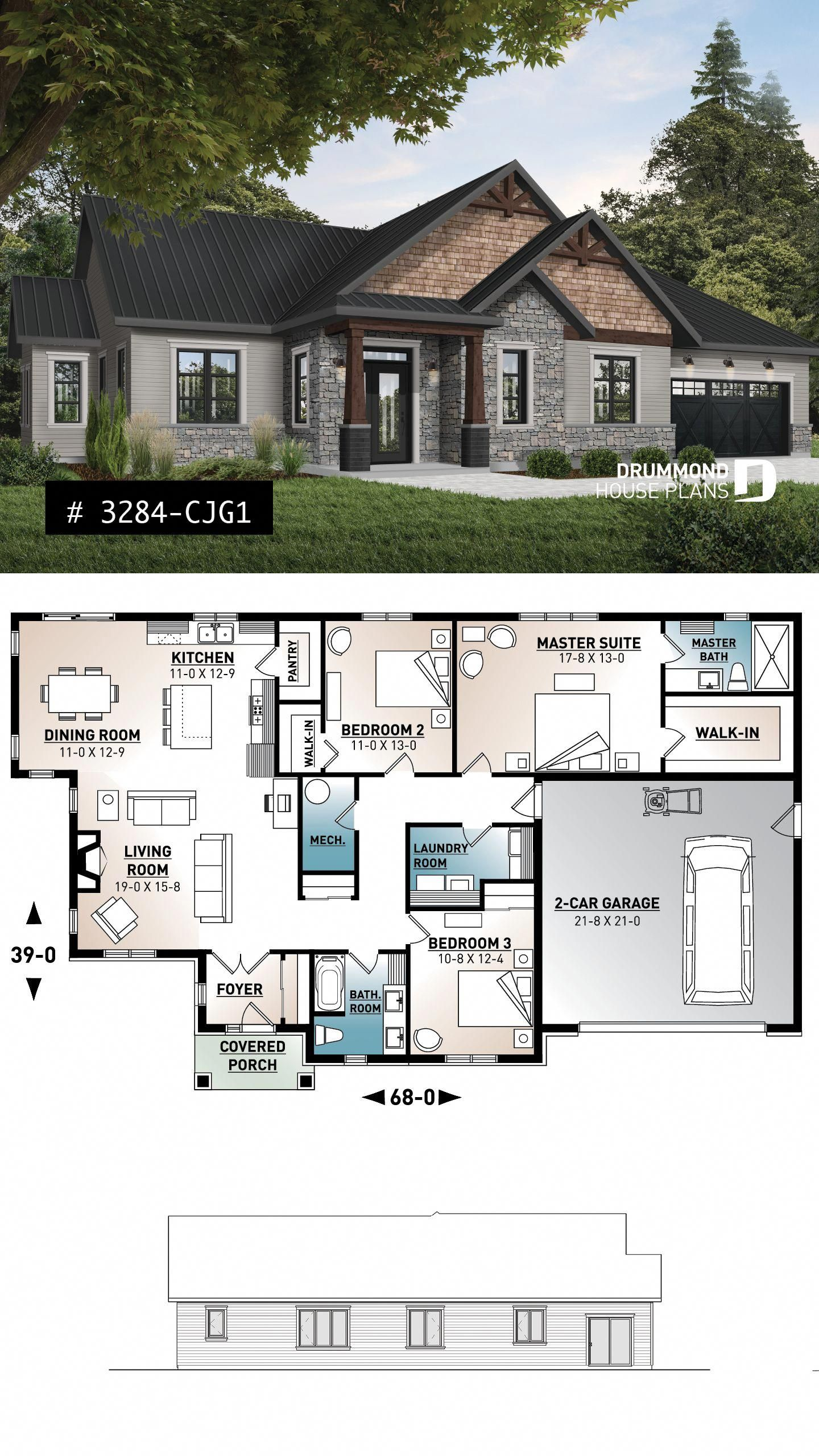 3 Bedroom Home Plan 9 Ceiling Large Master Suite Open Layout Pantry Fireplace Laundry Room Dream In 2020 Craftsman House Plans Sims House Plans New House Plans