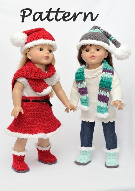 PDF Pattern - Santa and Winter Set for 18 Dolls, Crochet Skirt, Hat, Scarf, and Boots for 18 Inch Dolls, American Girl, 18 Doll Clothes