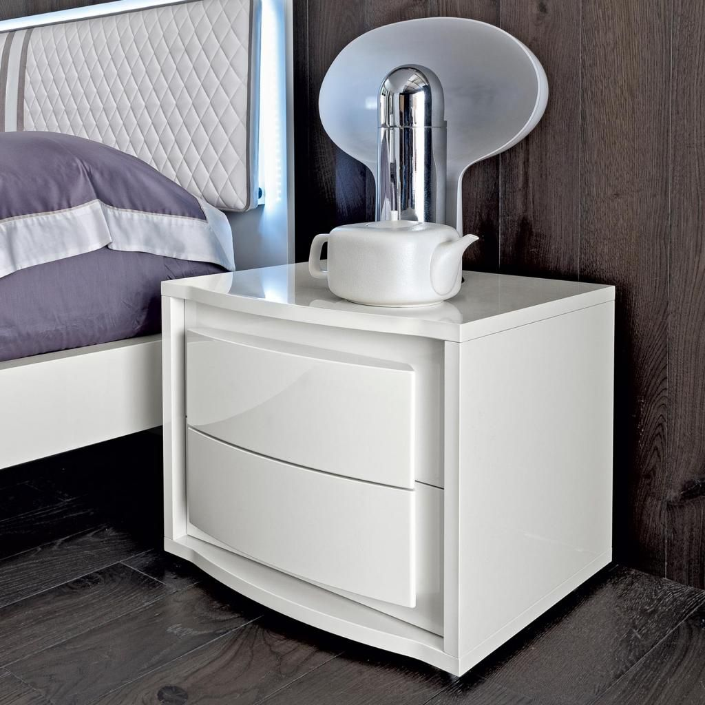 Smoked Italian Collection Mirror 3 Drawer Bedside Cabinet: Bianca White High Gloss 2 Drawer Bedside Cabinet [CAM_DAMA