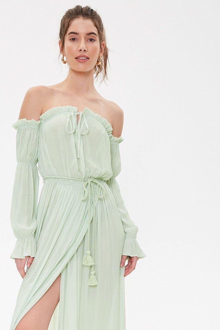 Off The Shoulder Maxi Dress Forever 21 Long Sleeve Flowy Dresses Maxi Dress Womens Flowy Dresses [ 1125 x 750 Pixel ]