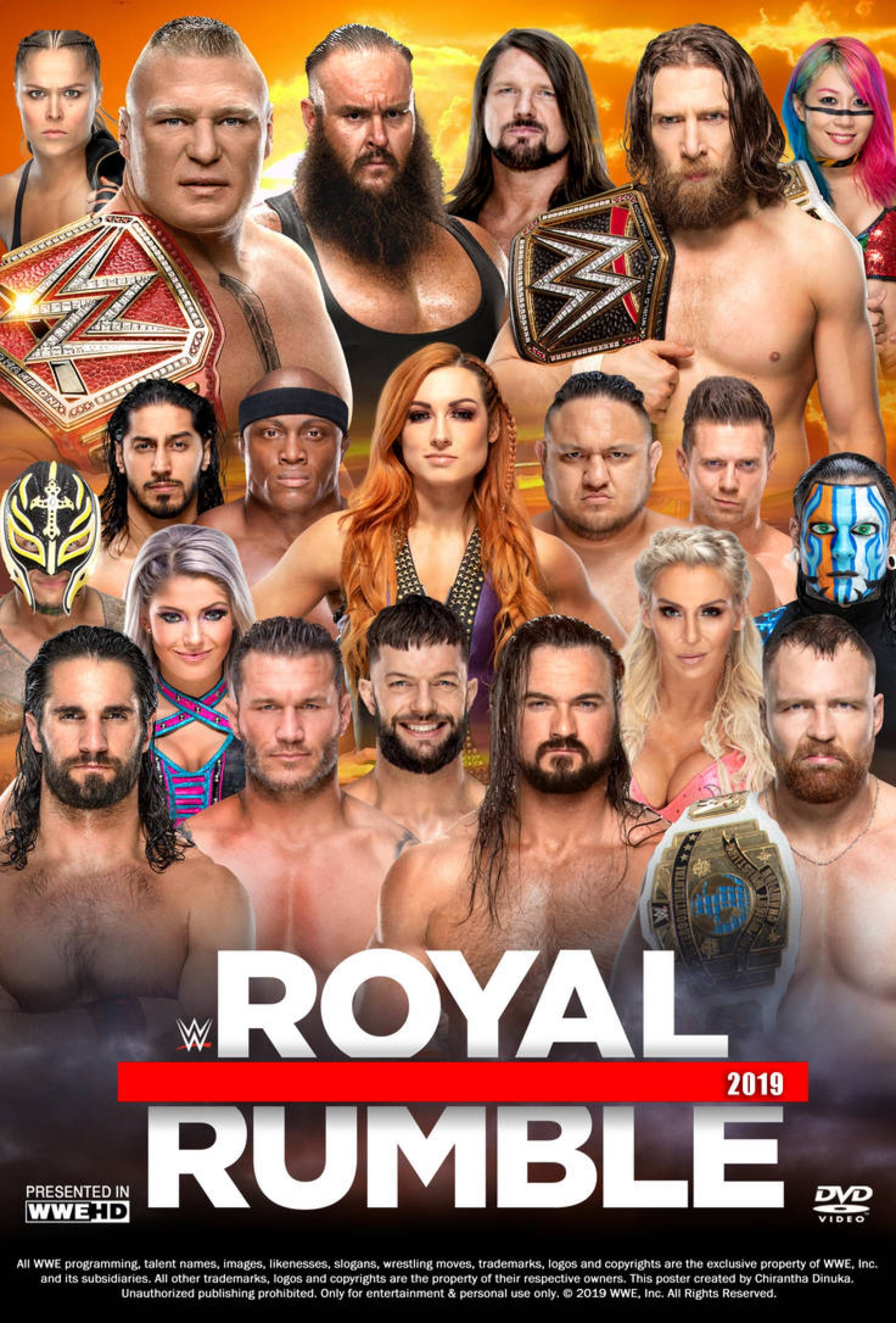 Wwe Royal Rumble 2019 Poster By Chirantha On Deviantart Wwe Royal Rumble Royal Rumble Wwe