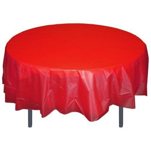 Red Round Plastic Table Cover By Exquisite 1 29 Disposable Cleanup Is Easy Budget Friendly Over Round Table Covers Plastic Table Covers Turquoise Table