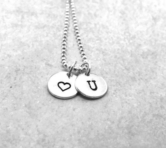 b198aaa700 Love You Necklace, Sterling Silver, Letter U Initial Necklace with Heart  Charm, All Letters Availabl