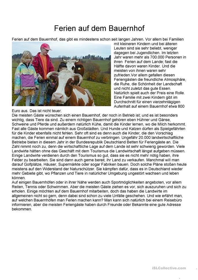 Einfache Texte - Ferien auf dem Bauernhof | Deutsch | Pinterest ...