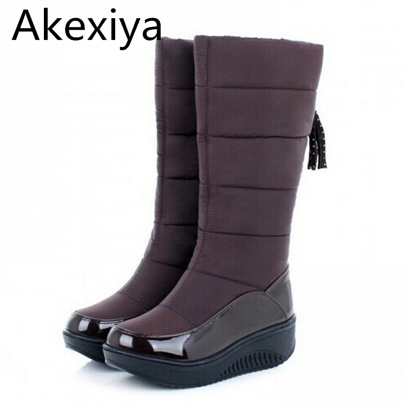 27.00$  Buy here - http://ali0wu.shopchina.info/go.php?t=32310875075 - Akexiya New 2017 Thermal Snow Boots Platform Comfortable Waterproof Women Boots Winter Wedges High Leg C Casual Fur Boots 27.00$ #magazineonline