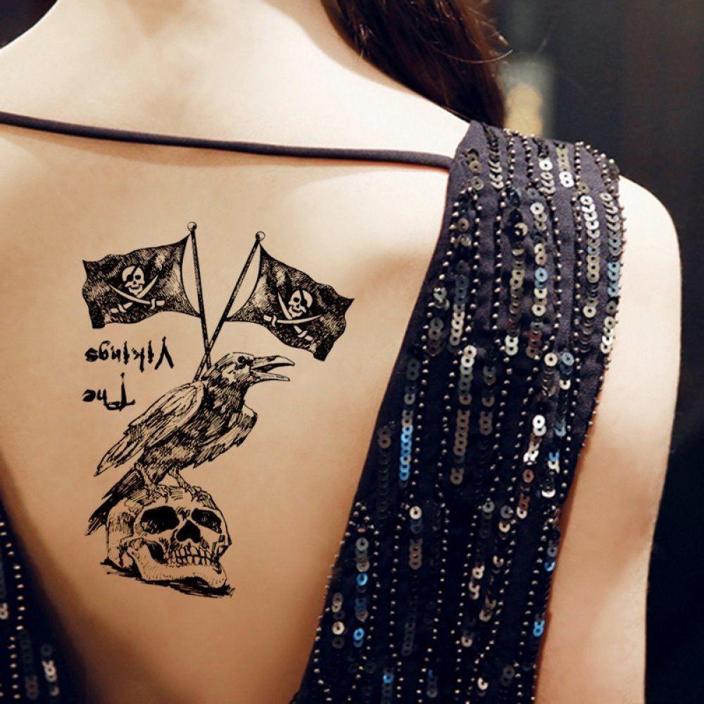 Pirate flag skull crow Waterproof Hot 17X10CM Arm Tattoo