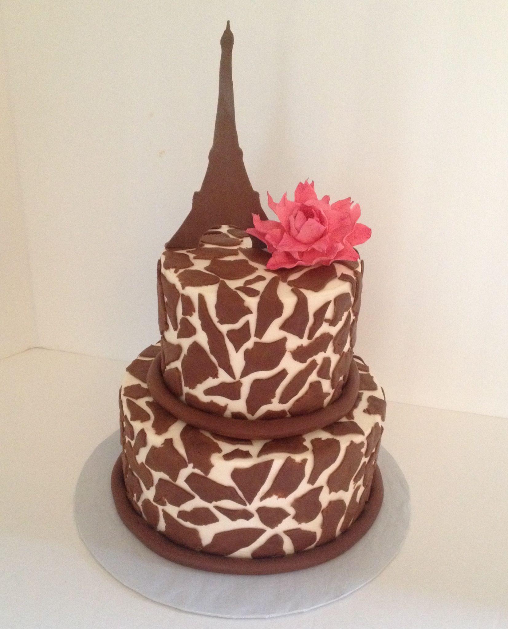 giraffe print cake Eiffel tower cake MY CONFECTIONS Pinterest