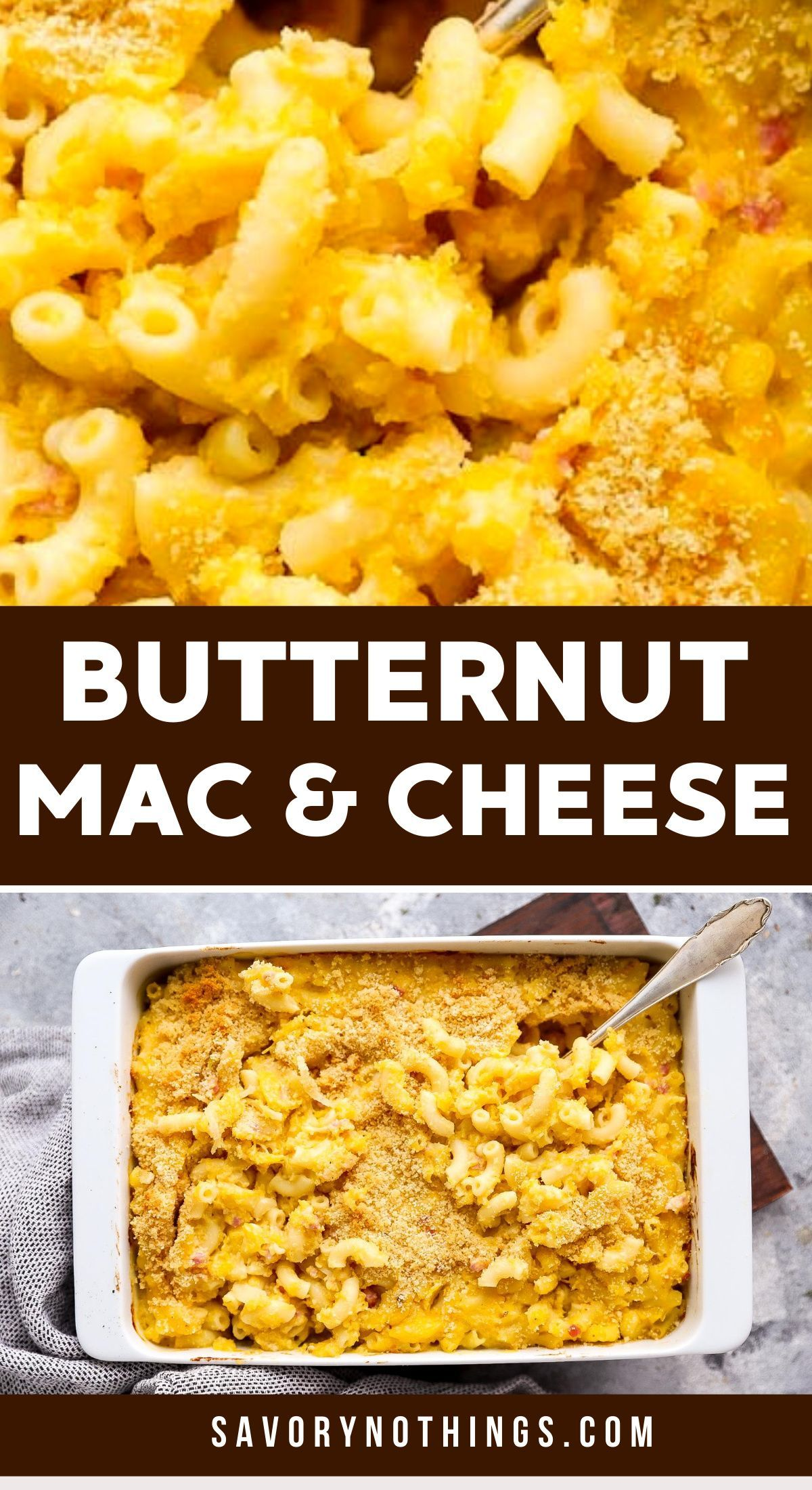 Baked Butternut Squash Mac And Cheese With Bacon Video In 2020 Butternut Squash Mac And Cheese Baked Butternut Squash Recipes