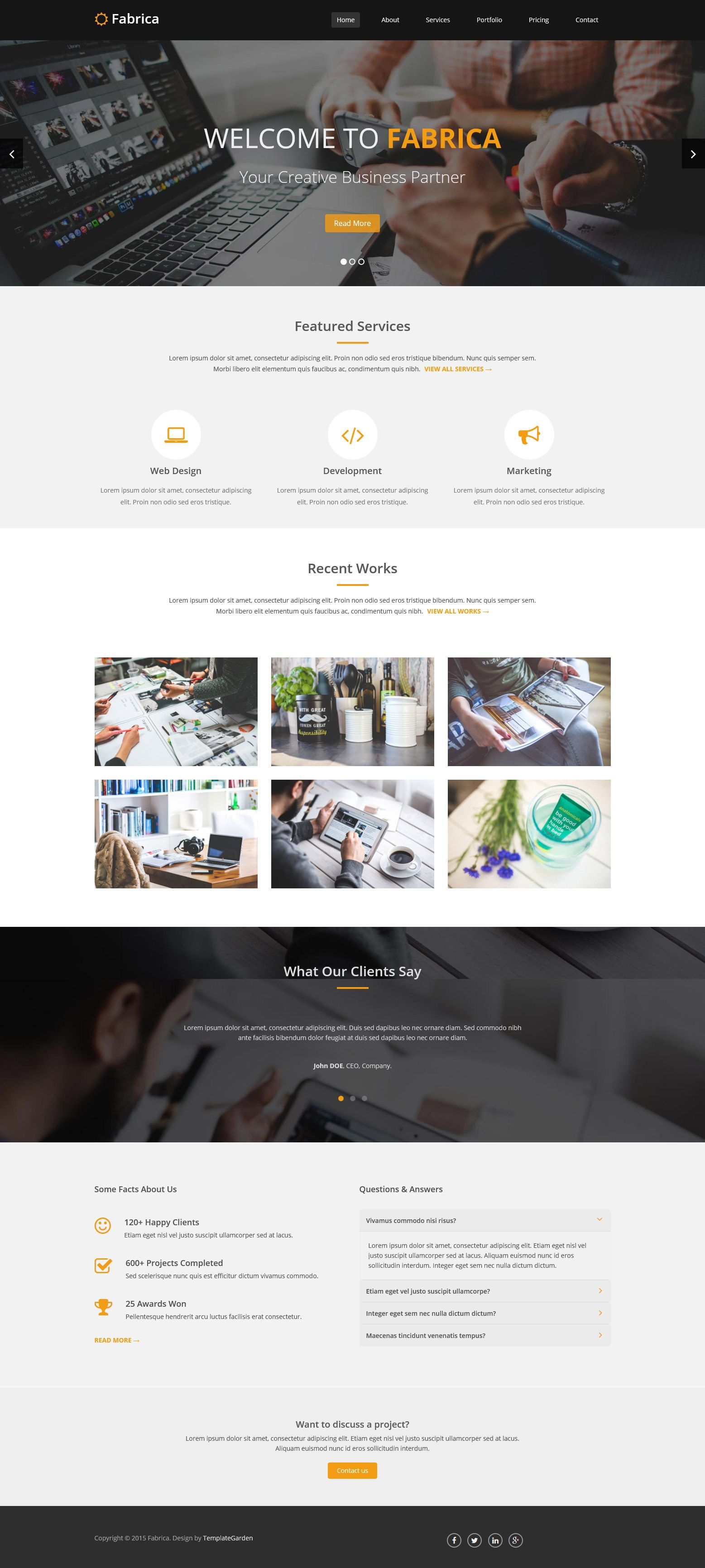 Fabrica is a clean and modern responsive HTML5 template based on ...
