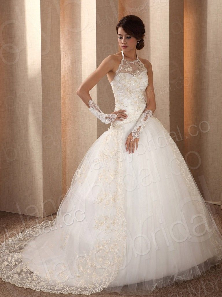 Ball Gown Halter Chapel Train Ivory Lace Lace Up Corset Wedding ...