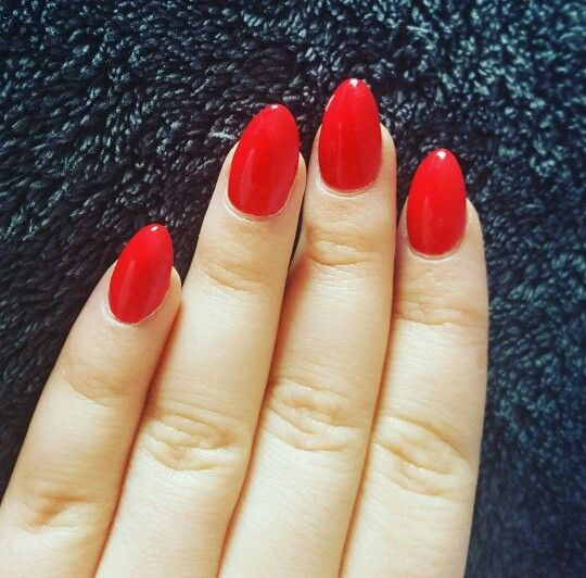Red Almond Shaped Nails Red Nails Red Acrylic Nails Almond Shape Nails