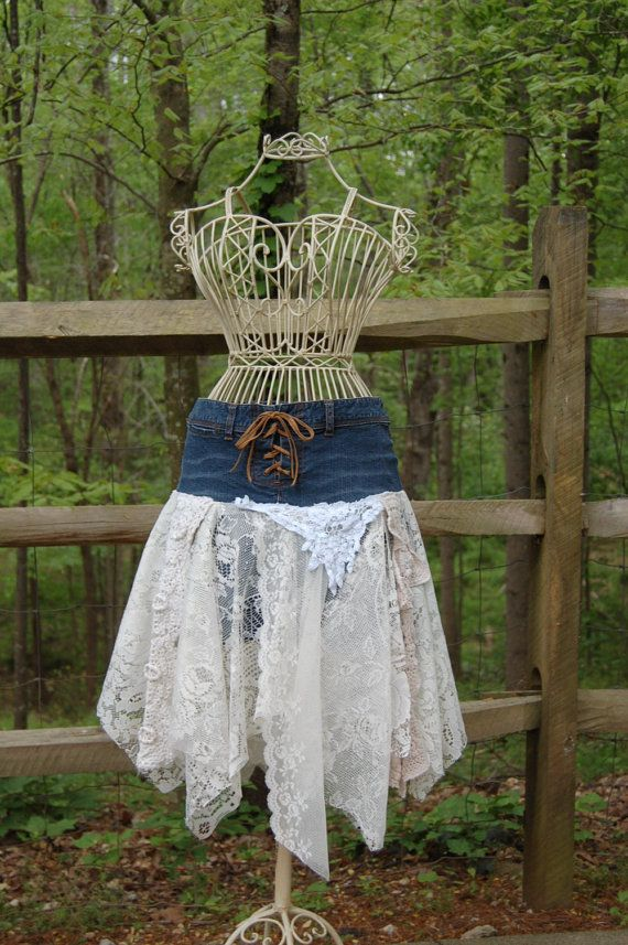 Funky Gypsy Cowgirl Tattered Lace and Denim Skirt.