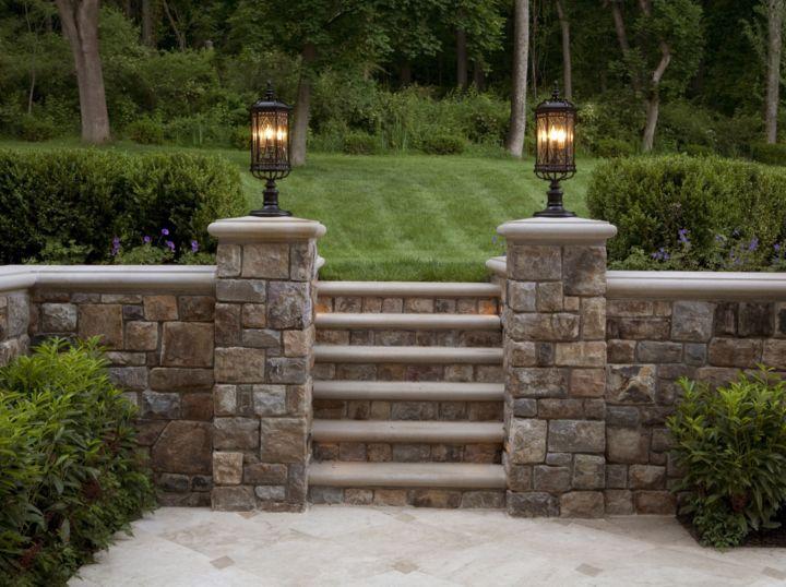 Cut Fieldstone Wall : The hand cut fieldstone garden wall has custom limestone