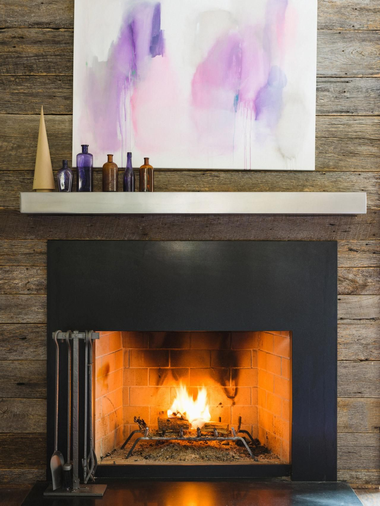 Metal fireplace mantel ideas