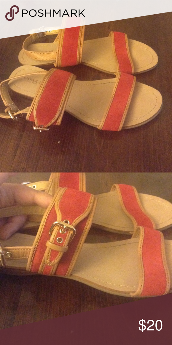 Coach sandals Adorable red and camel leather sandals  with side buckle Coach Shoes Sandals