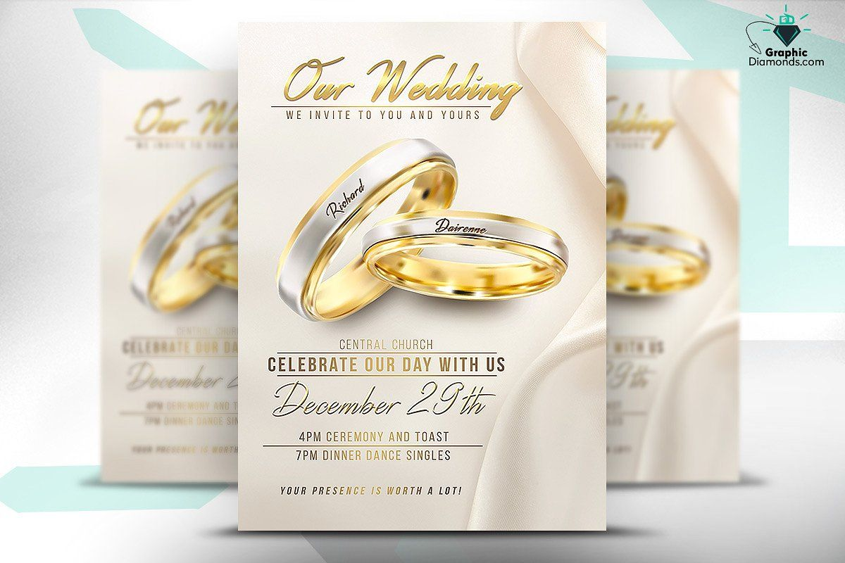 wedding flyer psd template by graphicdiamonds on creativemarket