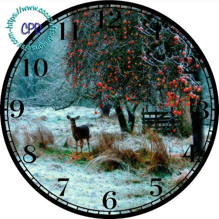 """Winter Woods with a Whitetail Deer Art - -DIY Digital Collage - 12.5"""" DIA for 12"""" Clock Face Art - Crafts Projects, Red Berries by CocoPuffsDesigns on Etsy"""