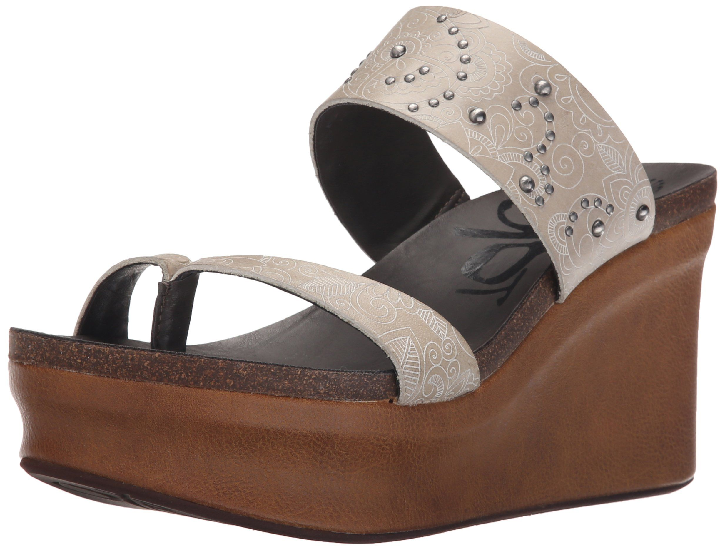 OTBT Women's Beachcomber Wedge Sandal, Timber Wolf, 9 M US. Comfortable  footbed.