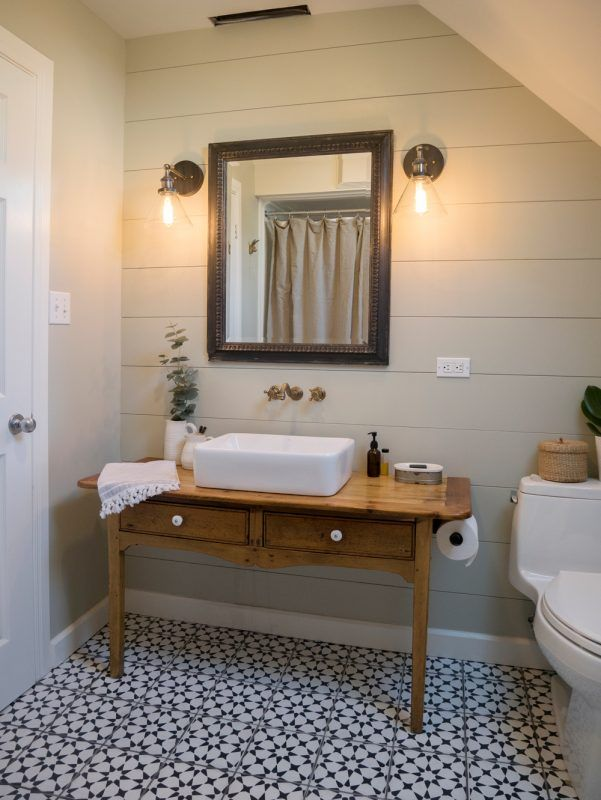 Vintage Inspired Farmhouse Bathroom Makeover Pin by