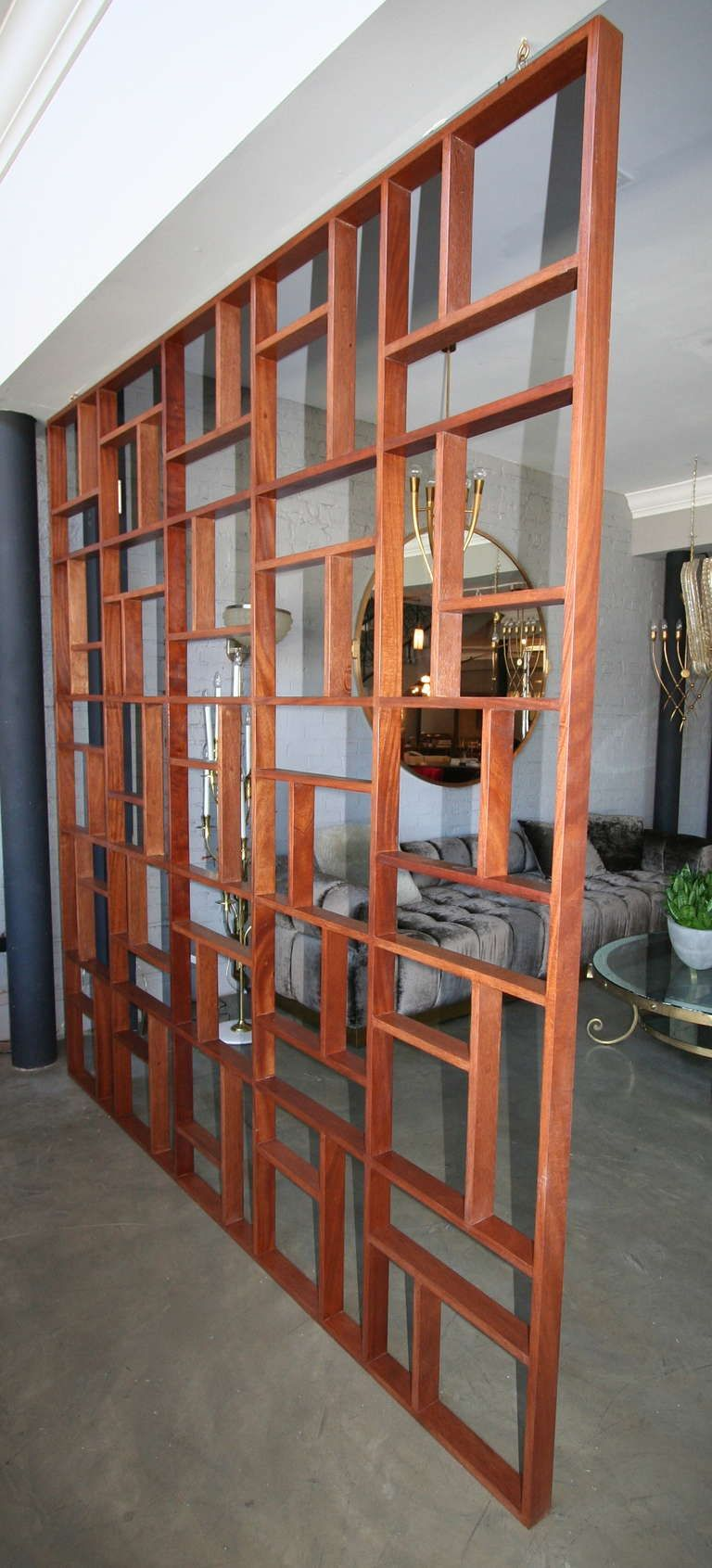 Custom midcentury style geometric room divider divider room and