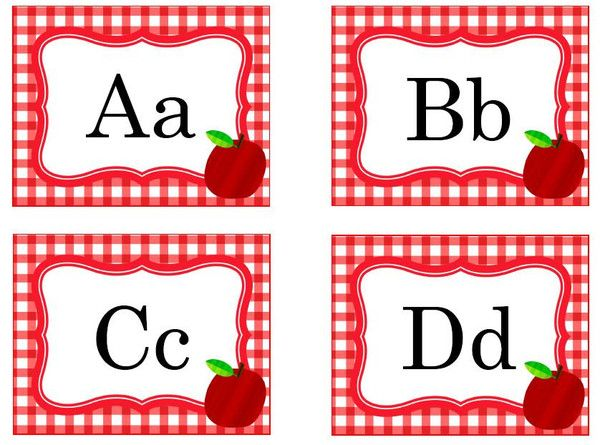 Printable Apple and Red Gingham Word Wall Headers (blank ones, as