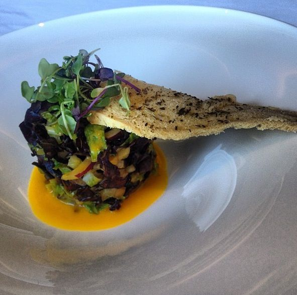 Compressed Mixed Greens Salad with Tropical Fruits and mango Dressing @ La Concha Resort in Puerto Rico!