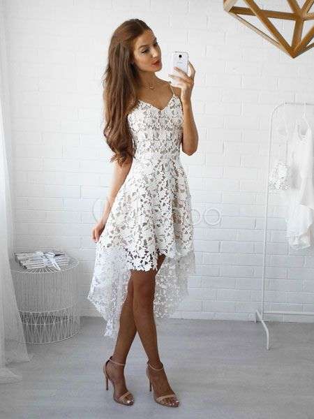 381793863dc White Lace Dress Spaghetti Straps High Low Semi Sheer Short Dress ...