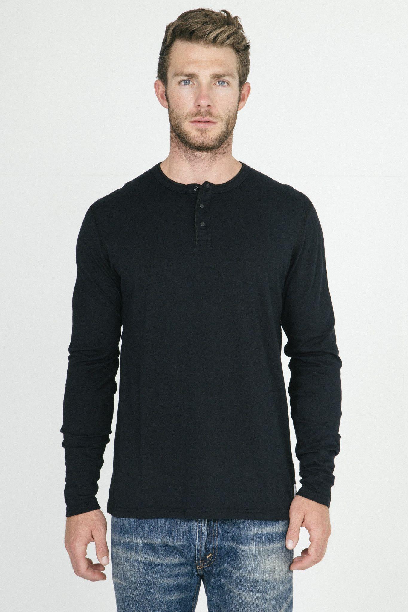 Reigning Champ Black Henley Long Sleeve T shirt