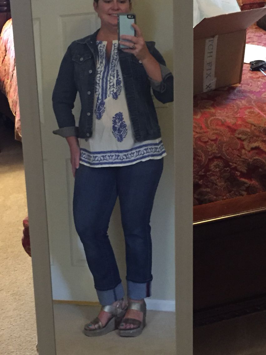 00e9ec6d13d I tried the Justine split neck top with a denim jacket and my Liverpool  crop jeans from my first fix