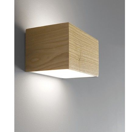 Wooden Cube Wall Lights : LEDlux Nord LED Up/Down Cube Wall Bracket in Teak Energy Saving Wall Lights Wall Lights ...