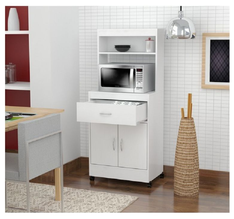 Good Kitchen Cabinet Storage Tall White Microwave Cart Stand Rolling Shelf  Drawer New #Inval