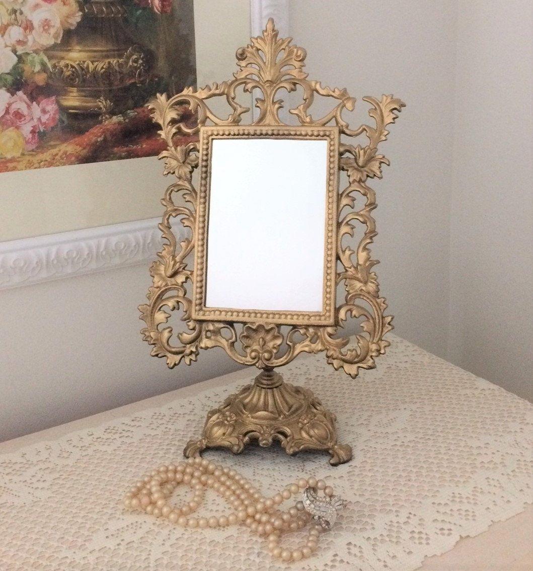 Victorian Style Cast Iron Ornate Pedestal Mirror For Vanity Vintage Jm Iron Art Vintage Mirrors Iron Art Mirror