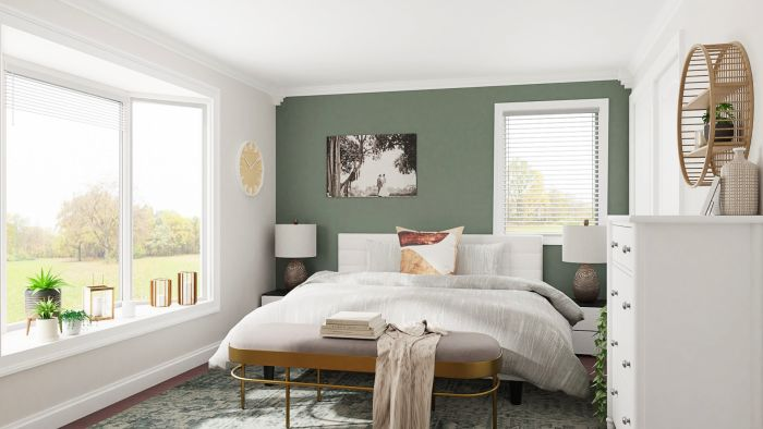 Mid Century Accent Wall Master Bedroom in 2020   Green ...