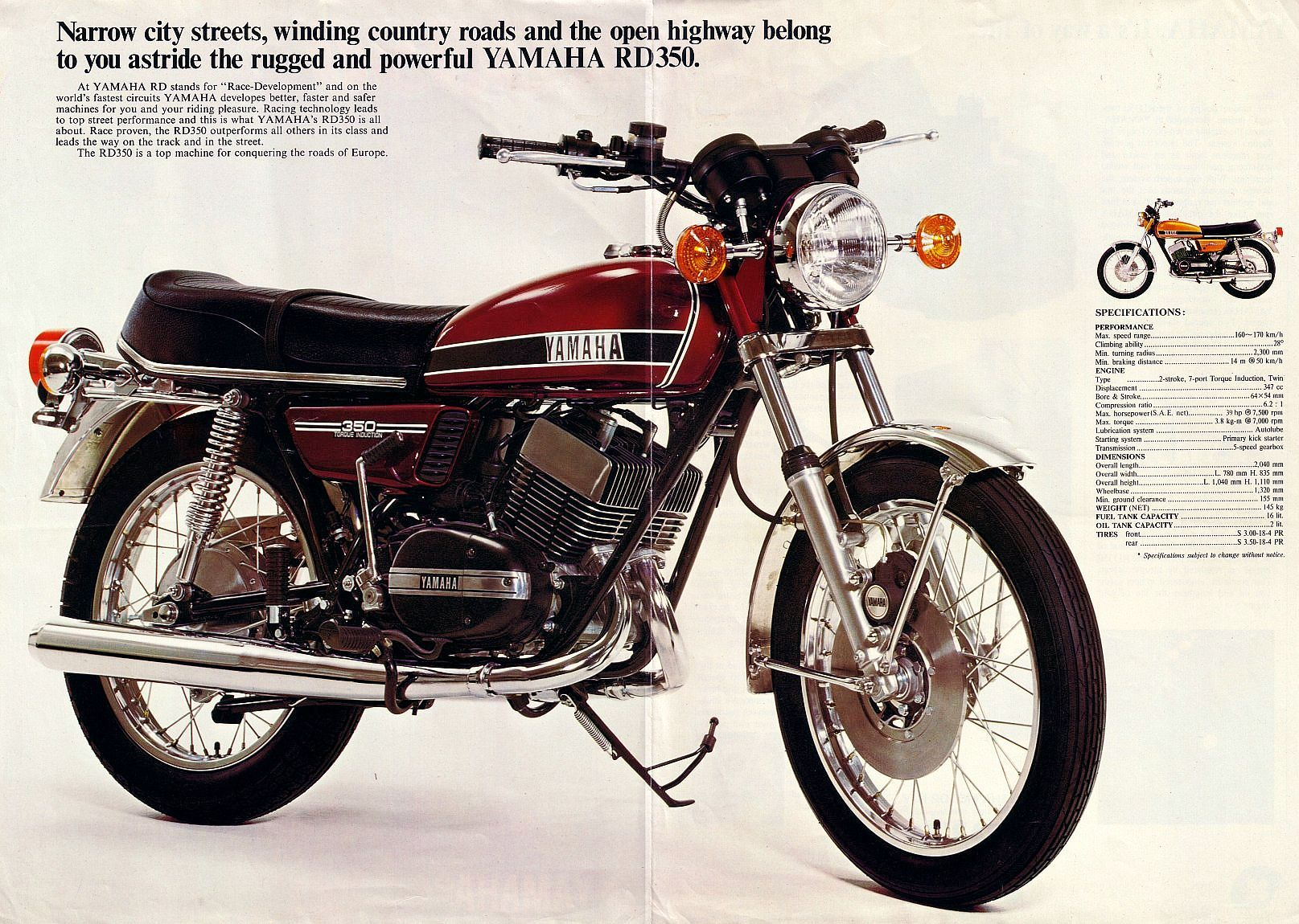 Yamaha Rd350a Medium Brochure Centre Jpg 1 615 1 150 Pixels With