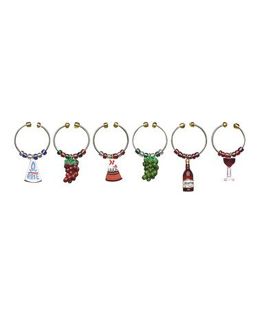 Another great find on #zulily! Gourmet Wine & Cheese Glass Charm Set #zulilyfinds