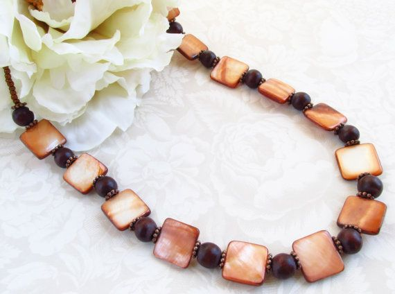 Mother of pearl necklace, copper dyed mother of pearl and wooden beads - 18 inches