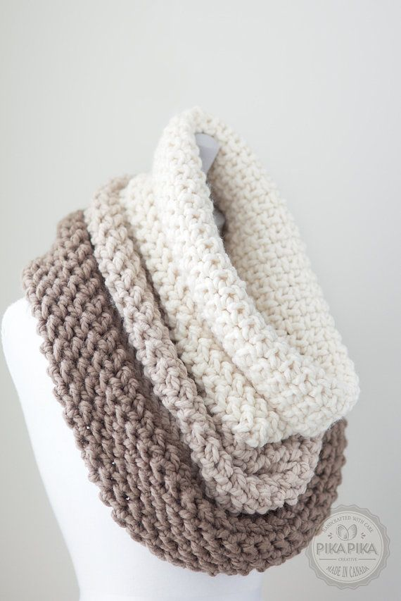 Oversized knit cowl - chunky knit cowl - ombre cowl scarf - hand ...