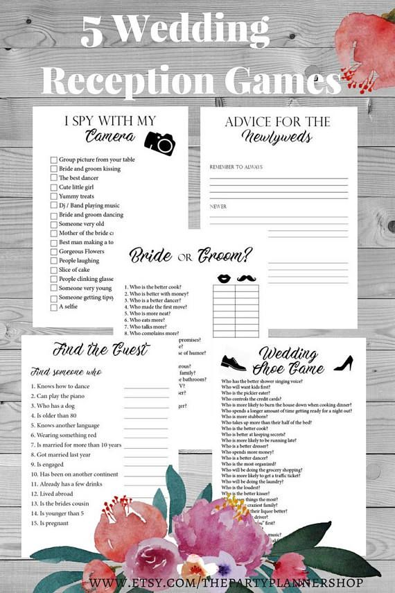 5 Wedding Reception Games, Printable Wedding Reception Game, Fun ...