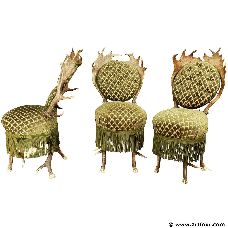Three rare antler parlor chairs, austria ca. 1880