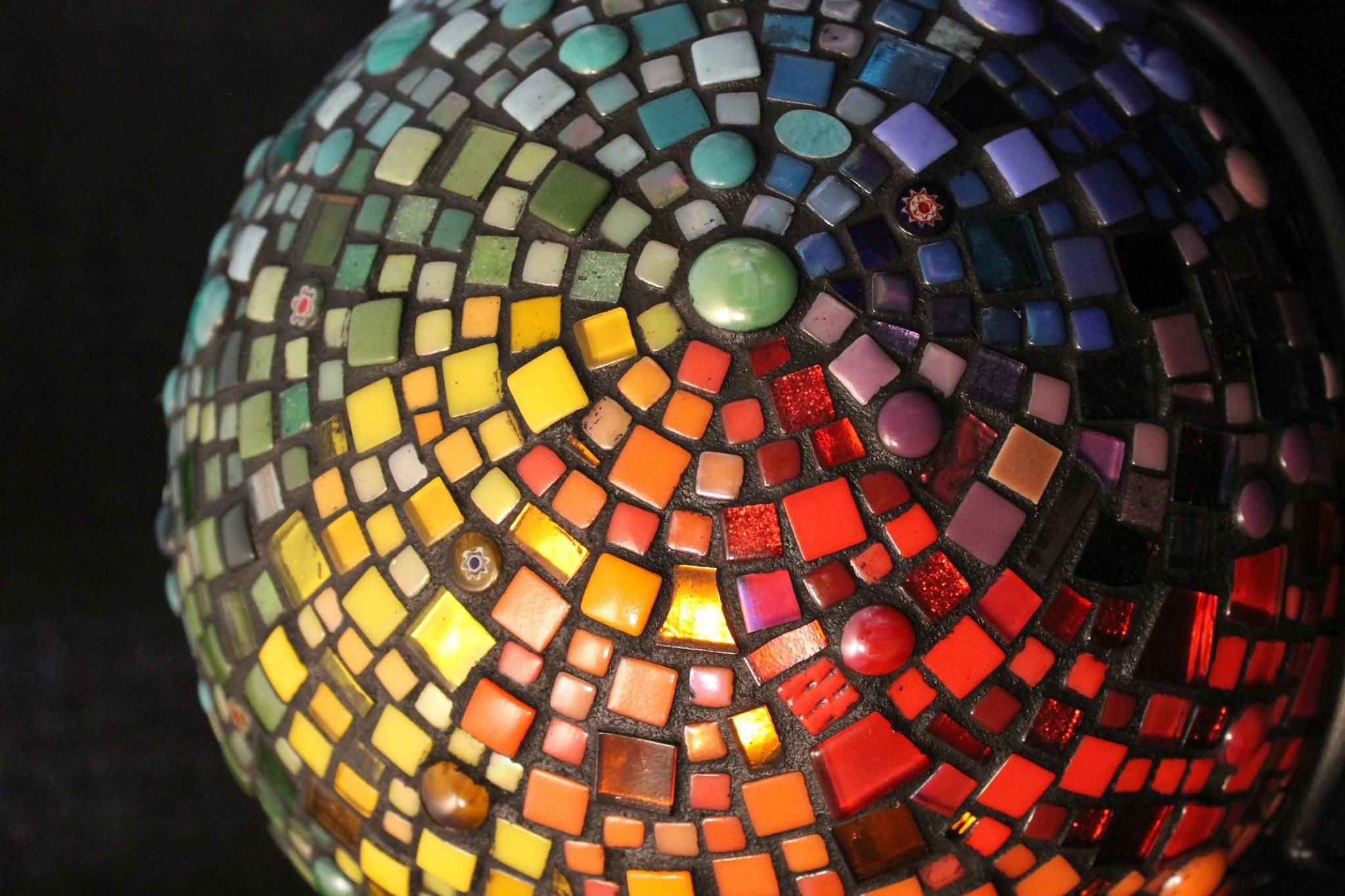 Mosaic rainbow gazing ball Indoor only 16