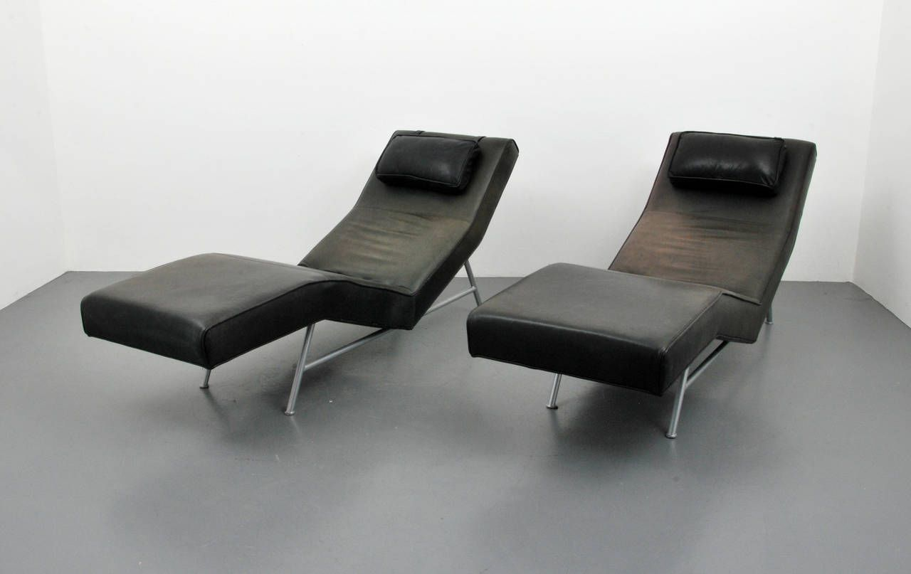 Chaise lounges Pair of Milo Baughman Leather
