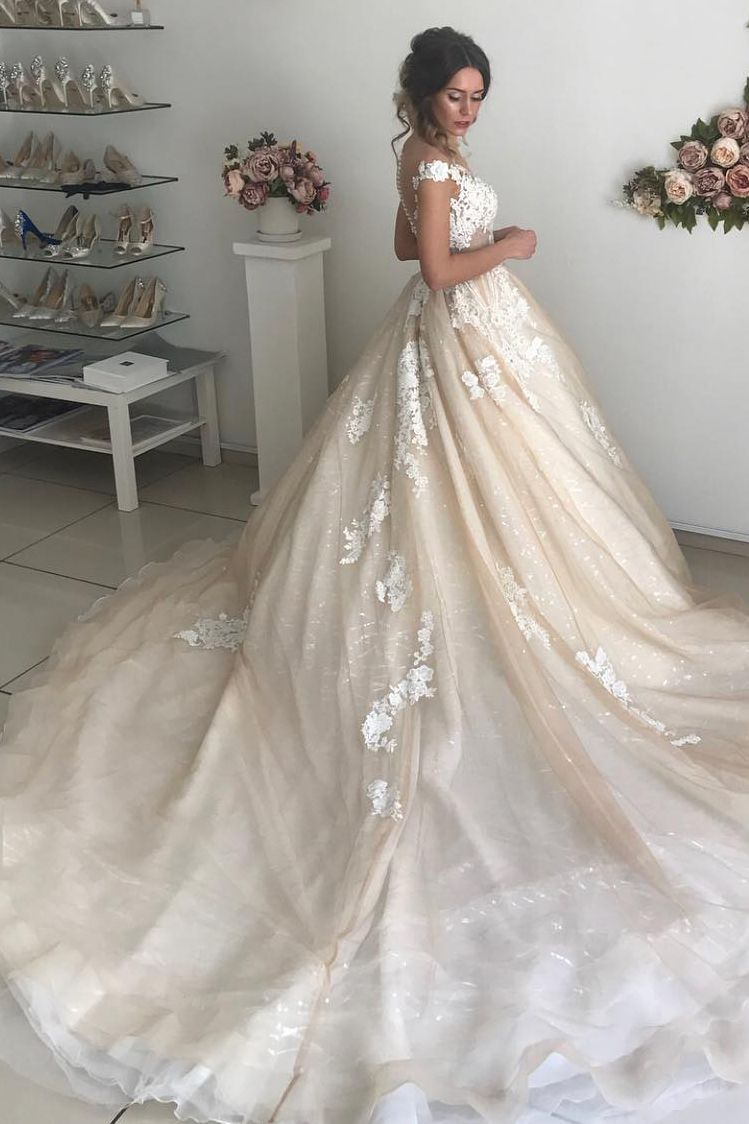 Ball Gown Off Shoulder Appliques Ivory Wedding Dress Wedding Dresses Uk Bridal Ball Gown Wedding Dress Sequin