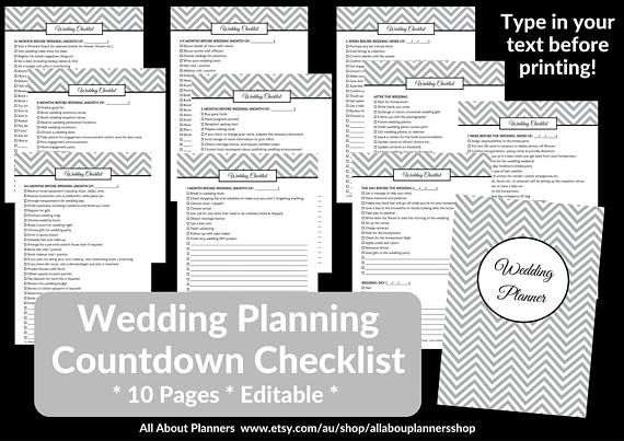 wedding checklist countdown printable planner editable