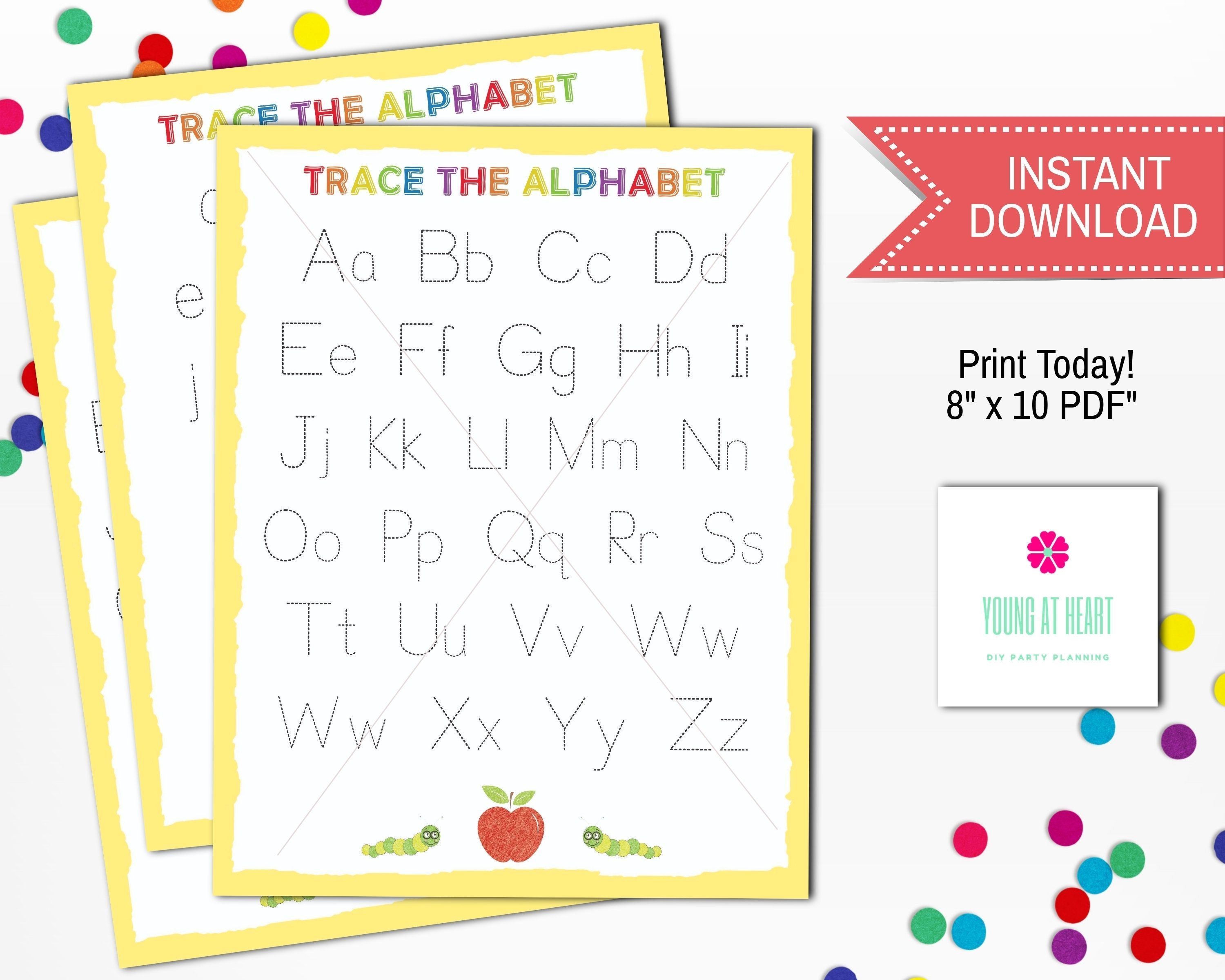 Printable Alphabet Tracing Worksheet Instant Download